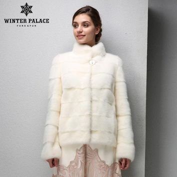 Genuine Leather,Mandarin Collar,Warm white mink coat,Young women mink fur coat