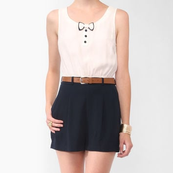 Two-Tone Bow Romper w/ Belt