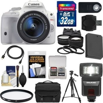 Canon - EOS Rebel SL1 Camera+EF-S 18-55 IS STM Lens+32GB+Battery+Case+Flash+Tele/Wide Lenses+Tripod+Acc Kit