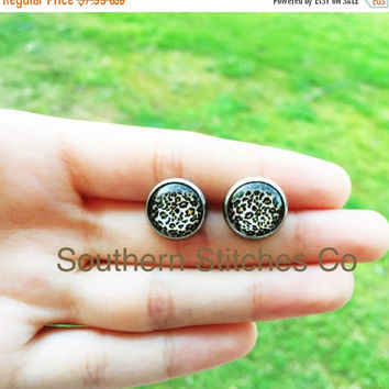Back To School Sale Earrings Leopard Animal Print Cheetah  Stud Earrings Boho Earrings 12MM Glass Earrings