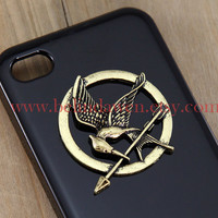 The Hunger Games, antiqued brass Logo Mockingjay black iPhone 4/4S case, Apple iPhone 4 Case, iPhone 4s Case, iPhone 4 Hard Case