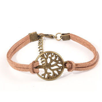 New Hot Sale 100% Fashion Vintage Hand-woven Rope Chain Leather Bracelet Metal Tree Charm Bracelets Jewelry For Women NP254