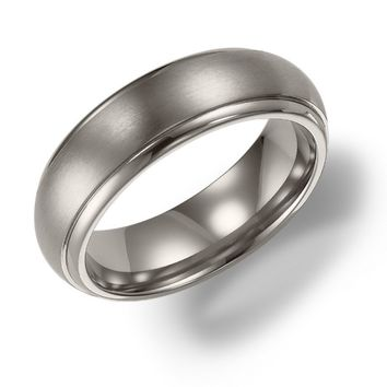 6mm wide titanium mens wedding band with domed raised center