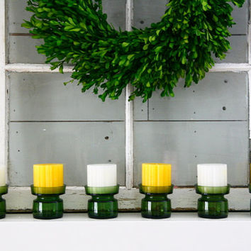 6 Dansk Jens Quistgaard Green Glass Candleholders with Original Candles and Box
