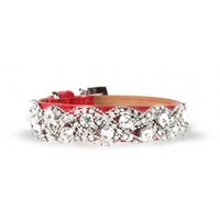 Red Crocodile Leather Dog Collar with Rhinestone Chain and Buckle