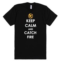 Keep Calm and Catch Fire-Unisex Black T-Shirt