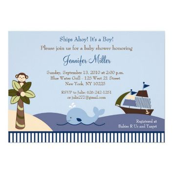 Ahoy Mate Whale Sailboat Baby Shower Invitations from Zazzle.com
