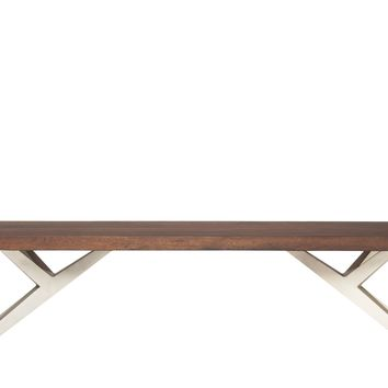 Air Loft Wood and Iron Dining Table Bench Dark Brown by Moes Home Collection