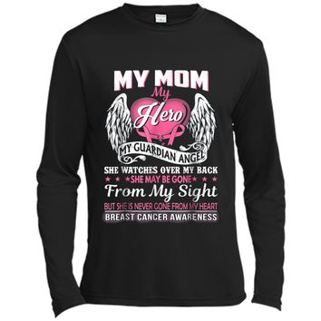 My Mom Hero My Guardian Angel Breast Cancer Awareness  Long Sleeve Moisture Absorbing Shirt