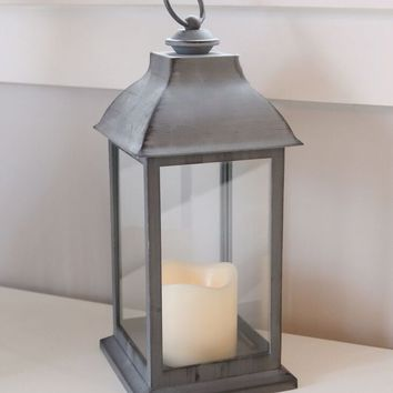 """Grey Decorative Lantern with Candle - 12"""" Tall"""