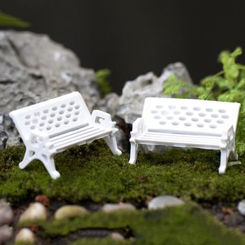 3 Size White Figurines Miniatures Crafts Small Ornament Landscape Decoration The Park Sits Chair Seat Doll