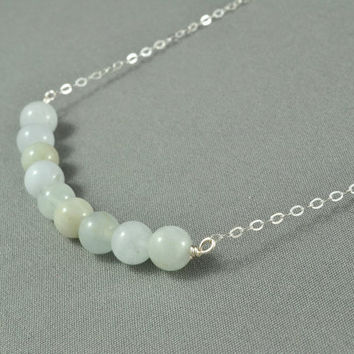 Beautiful Aquamarine Gemstone Beads Necklace, Wire Wrapped Beads, 925 Sterling Silver Chain, Wonderful Jewelry