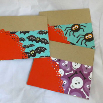Halloween Card Set Hand Made Cards Hand Stamped Cards Blank Cards Note Cards Set of Three Cards Handmade Cards Spider Card Skull Card Bats