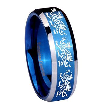 10mm Multiple Dragon Beveled Edges Blue 2 Tone Tungsten Carbide Mens Bands Ring