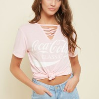 Light Pink Coca Cola Looped Lattice Tee