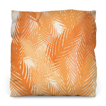 Orange Palm Leaves Outdoor Throw Pillow