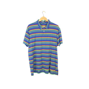 90s RALPH LAUREN rainbow polo shirt - vintage 1990s - thin soft short sleeve tee - bold primary colors - mens XL