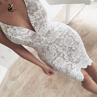 summer elegant Woman lace dress  Irregular crop  V-neck Party Clubwear Sexy Bodycon  Dresses  drop shipping