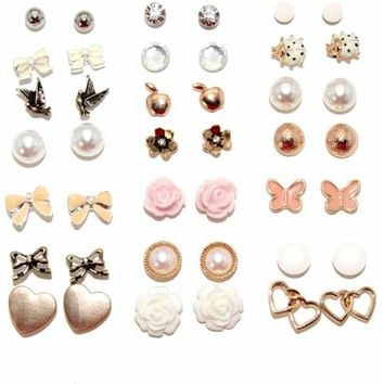 Flowers and Bows Assorted Stud Fashion Earrings, Set of 21 - Walmart.com