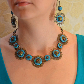 Turquoise Necklace Earrings Studs Set Polymer clay jewelry Handmade jewelry East filigree jewelry Oriental