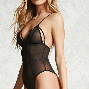 Contrast Trim Sheer Bodysuit