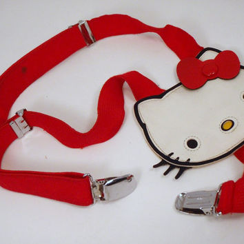 LAST CHANCE SALE Vintage Suspenders Retro 80s Classic Hello Kitty Red Stretch Sanrio Belt Accessory