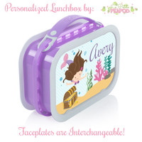 Mermaid Lunchbox - Personalized Lunchbox with Interchangeable Faceplates - Double-Sided Mermaid Lunchbox