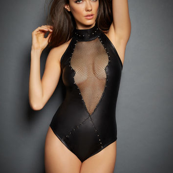 Sierra V Leather & Mesh studded Bodysuit