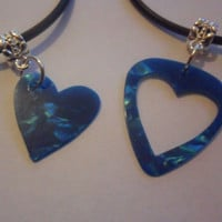 Turquoise real guitar pick heart his and her necklace set