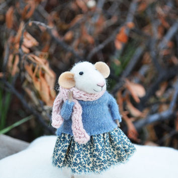 NEW Little Winter Mouse- Original artwork designed and created by Johana Molina- by Felting Dreams