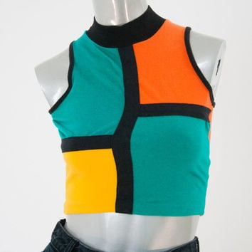 90s vintage colorblock cropped top, 1990s fashion clothing Mondrian colorful crop, spring 2014 free people urban outfitters retro retrofit