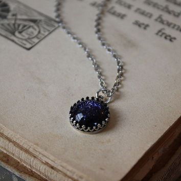 ON SALE Blue Goldstone Necklace - Bridesmaid Necklace - Starry Night