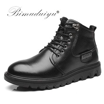 New Men Winter Boots Real Leather Shoes Handmade Super Warm Motorcycle Boots Waterproof Ankle Snow Boots For Men