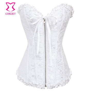 White Bustier Top Jacquard Overbust Corselet Plus Size Zipper Corset Wedding Sexy Gothic Lingerie Women Espartilho Bridal Corset