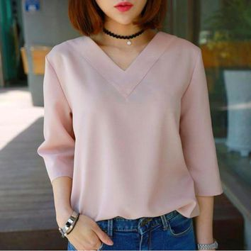 V-neck Chiffon Blouse Pullover Style Top For Work And Evening