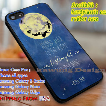 Second star to the right, Peter Pan, case/cover for iPhone 4/4s/5/5c/6/6+/6s/6s+ Samsung Galaxy S4/S5/S6/Edge/Edge+ NOTE 3/4/5 #cartoon #disney #peterpan  #animated #movie dl1