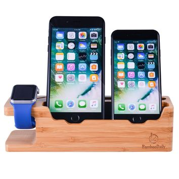 Apple Watch Stand, Bamboodaily Bamboo Wood Dock: Cradle, Holder, Stand for All Android Smartphone, iPhone 6 6s 7 Plus 5 5s 5c Charging, Accessories Desk