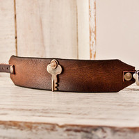 Leather Buckle Cuff Men's Bracelet Jewelry Winter Fashion Gift For Him Holidays Rustic Primitive