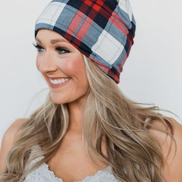 Pulse Perk - Peek-a-Boo Plaid Beanie- Red & Blue