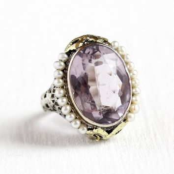 Vintage Amethyst Ring - Antique Art Deco 14k White Gold 7.68 ct Purple Gemstone & Seed Pearl Halo - 1920s Size 6 Filigree Fine Jewelry