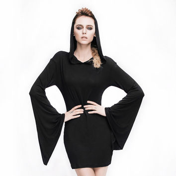 Steampunk Women's Casual Dress Batwing Sleeve Gothic Black Hooded Dress Long Sleeve A-line Slim Fit Mini Dresses
