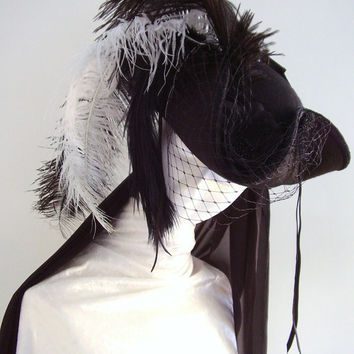 Neo 18th Century Black Tricorn Plumed Hat  The Lady by Blackpin