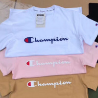 Champion short-sleeved letter small pockets offset print lovers' and men's and women's t-shirts