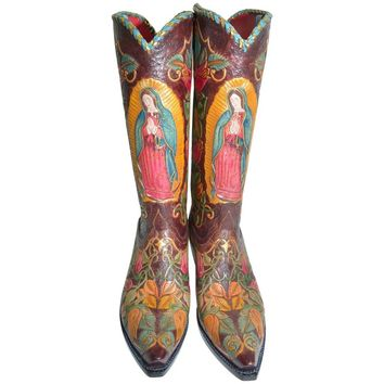 Bespoke 40 Roses Our Lady of Guadalupe Cowboy Boots Ladies 9.5