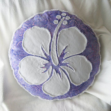 Hibiscus flower pillow, lavender batik and white denim round pillow