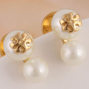 Tory burch double pearl gold T - word ear stud earrings for female