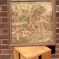 Vintage Tapestry Framed Children Patina Aged Wood