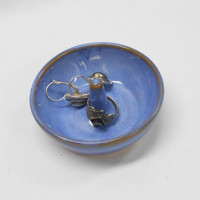 Pottery Ring Holder, Ceramic Ring Holder, Jewelry Holder, Ring Dish in Brilliant Blue