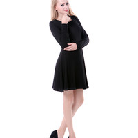 Everyday Black Long Sleeve Skater Dress