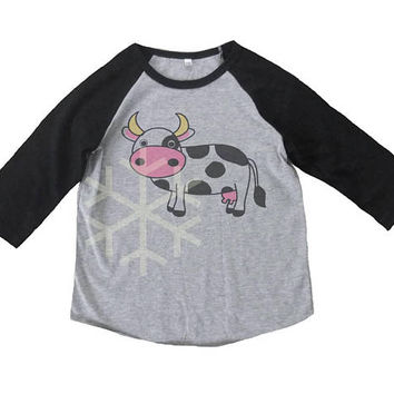 Cow shirt toddler Farm animal tshirt -Barnyard -3/4 sleeve tshirt -Children t shirt -Raglan shirt- Baseball tshirt -Kids tshirts